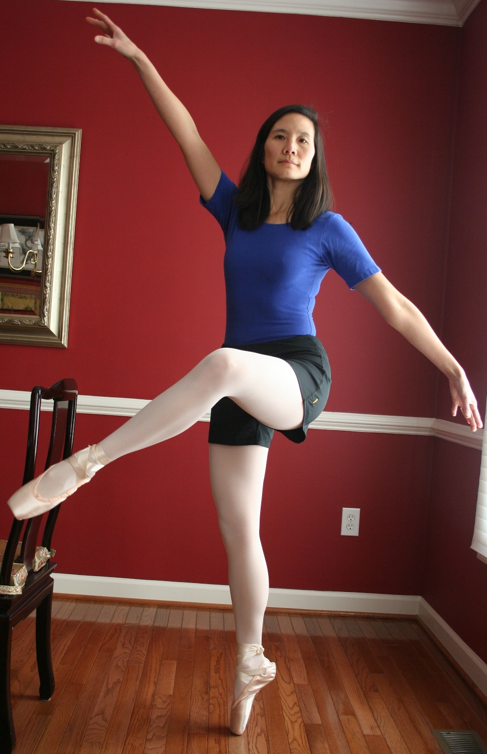 asian ballet milf wearing white opaque tights and black shorts