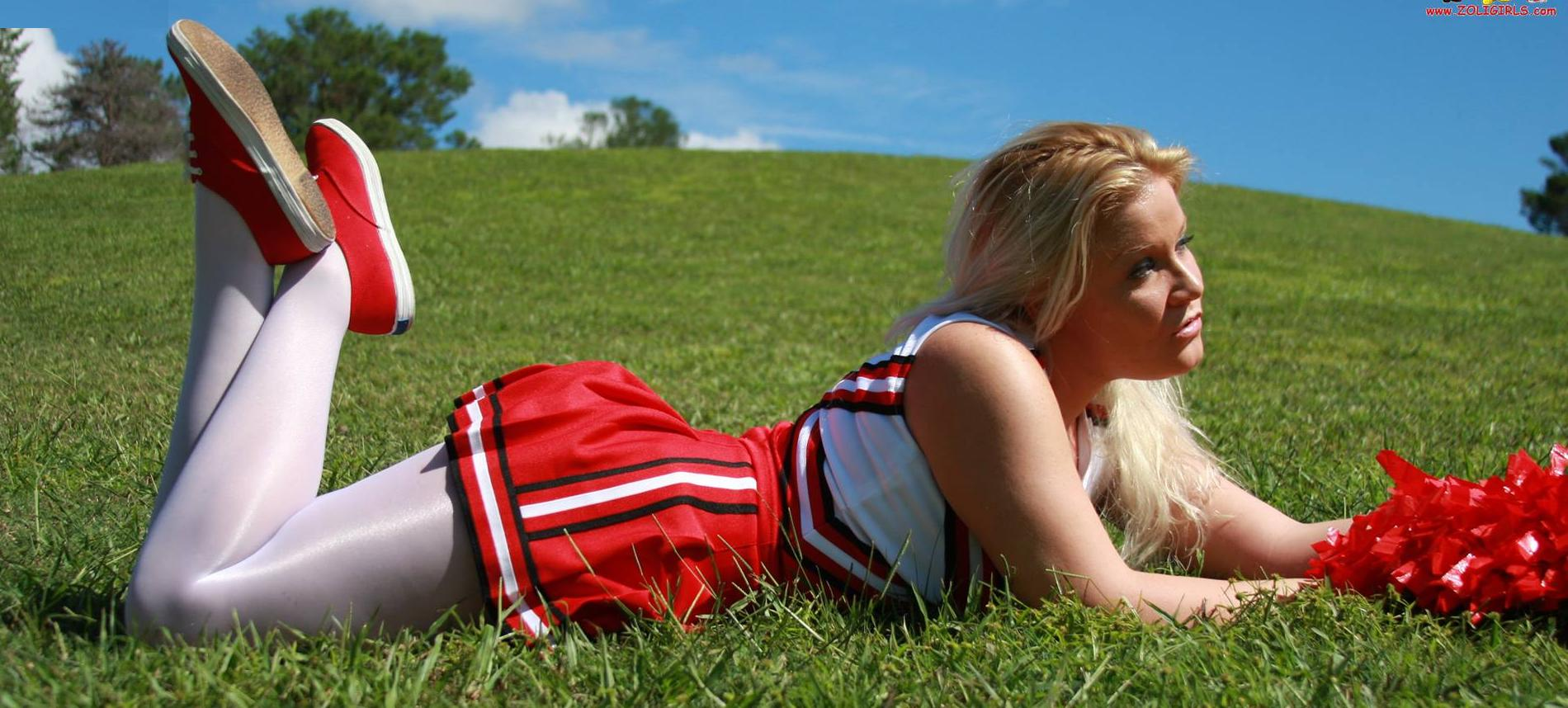 Blonde Cheerleader wearing White Opaque Shiny Pantyhose and Red Sneakers