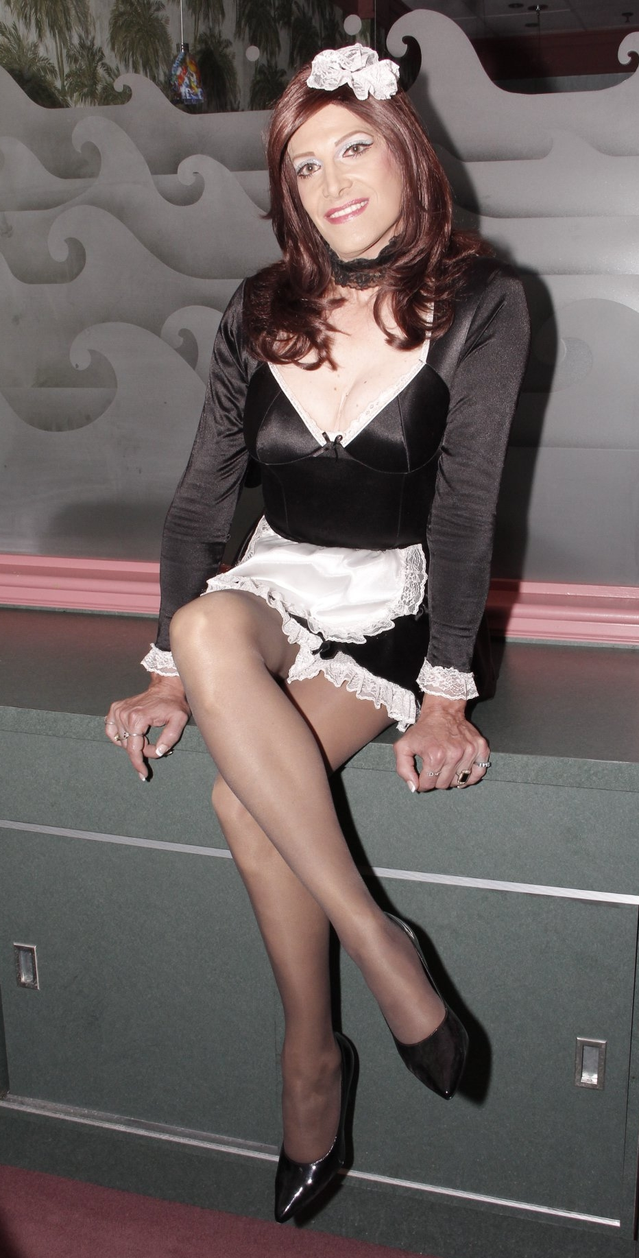 Sheer Pantyhose French Maid