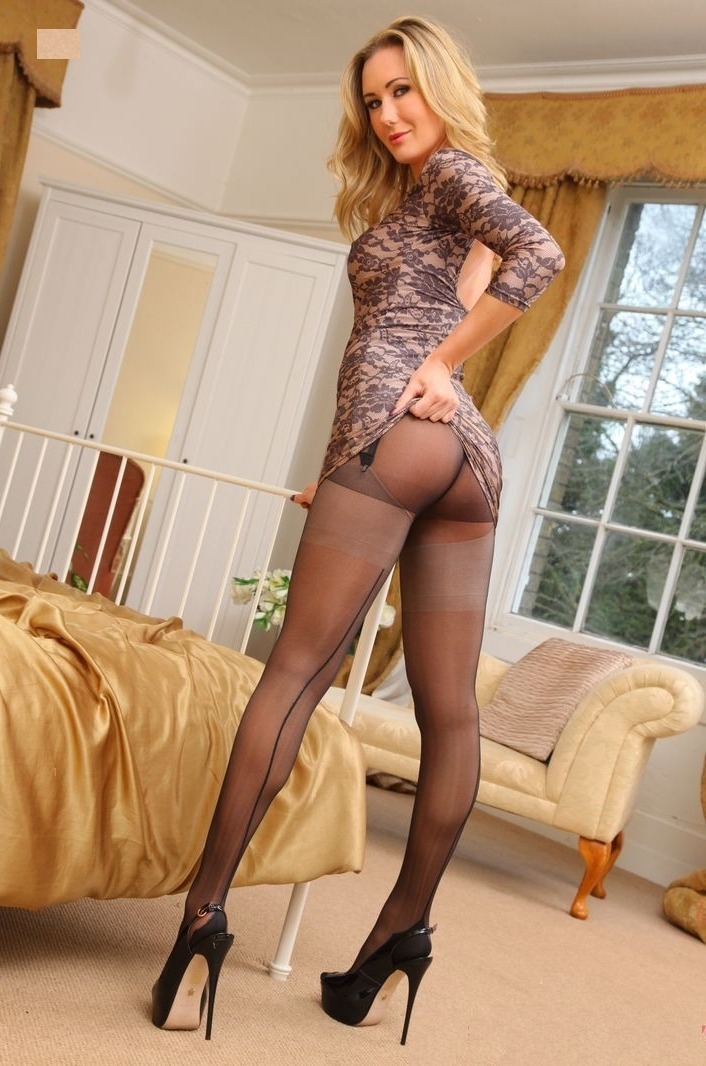 Females wearing pantyhose and heels wife and