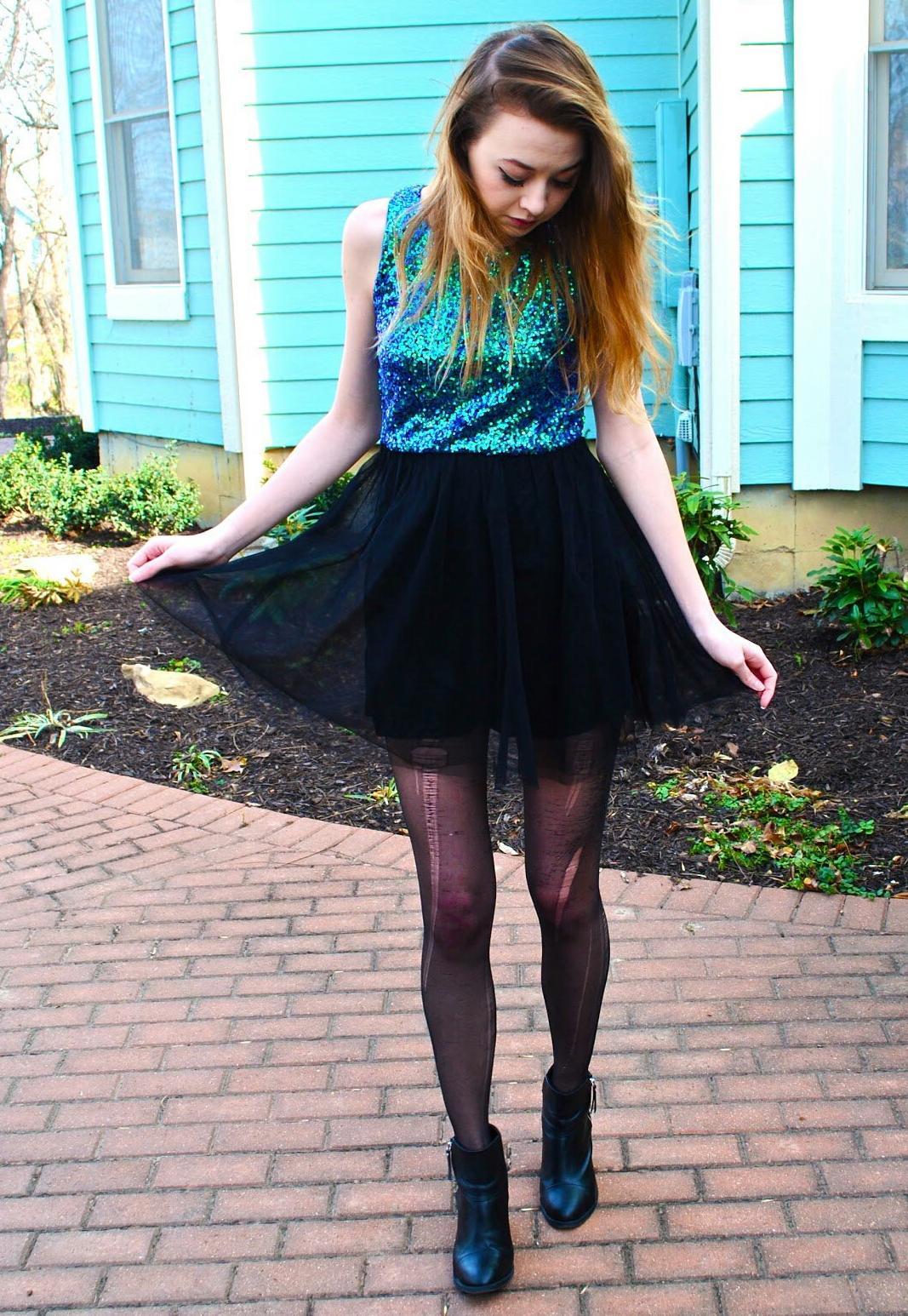 Auburn Girl wearing Black See Through Shirt and Black