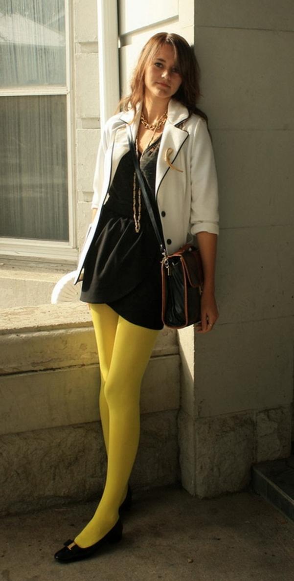 Auburn Teen Girl wearing Black Ripped Sheer Pantyhose