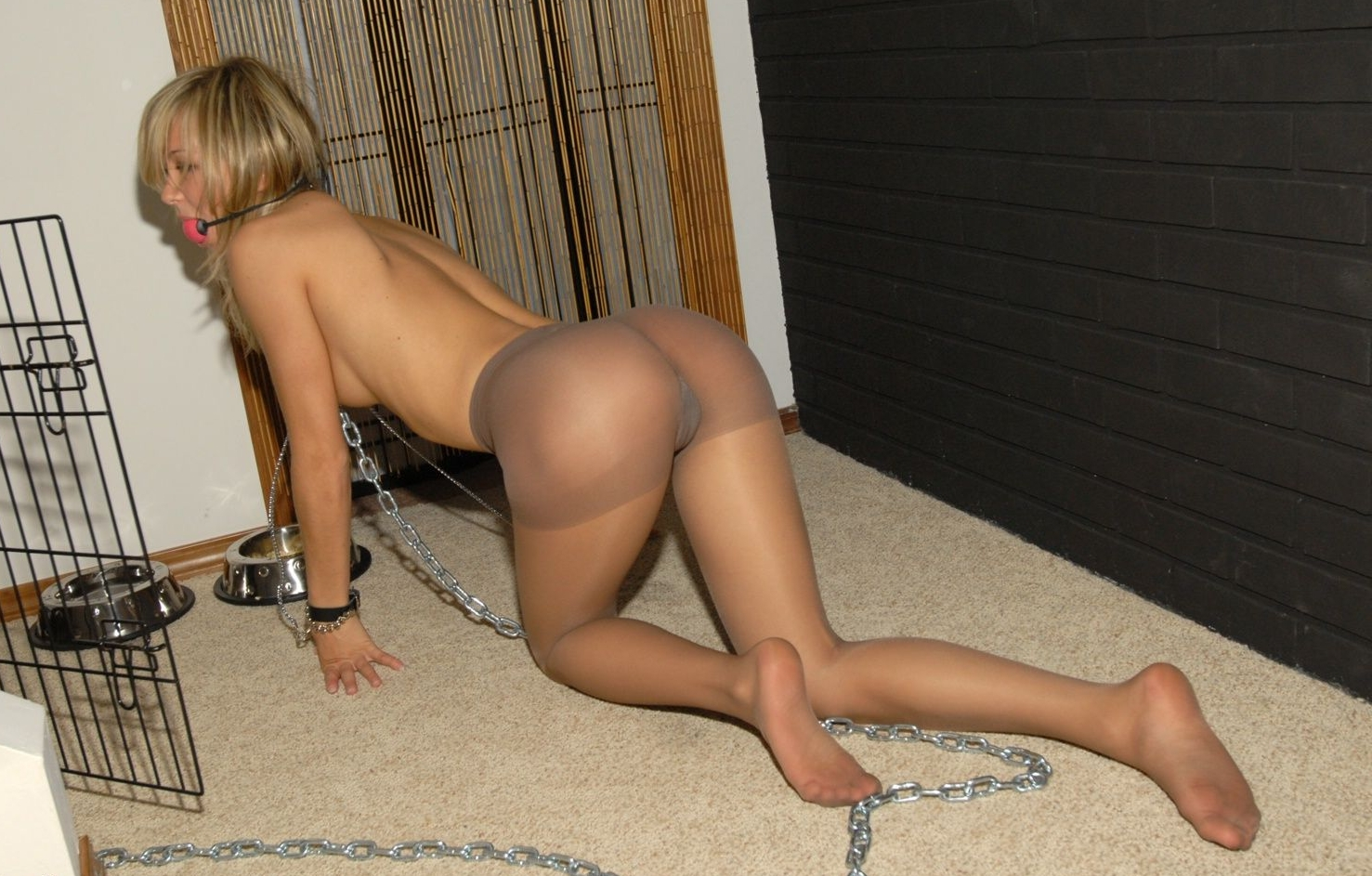 Blonde is bound in chains and fisted 5