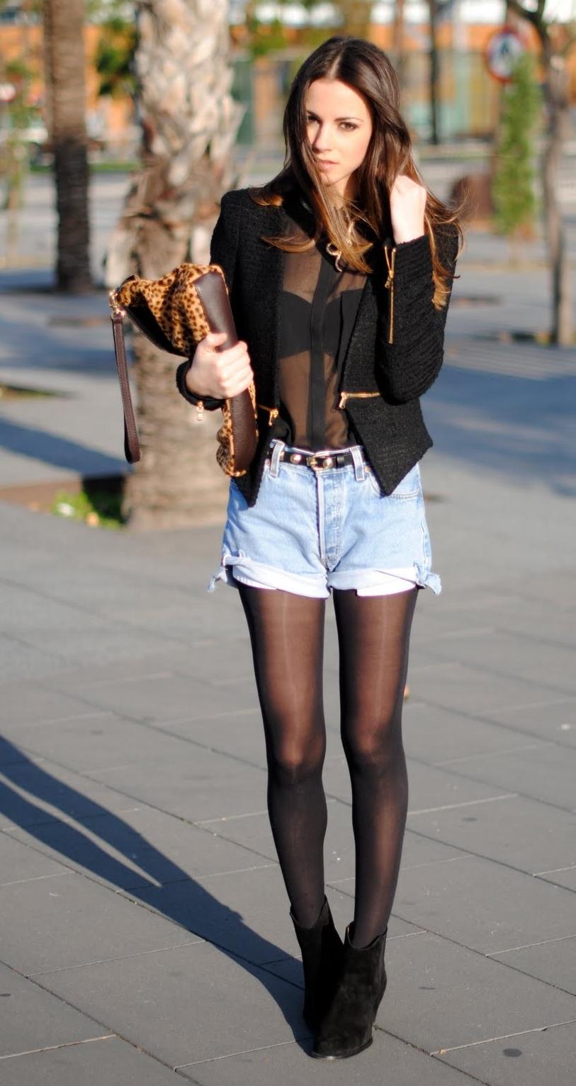 Auburn Girl wearing Black Ripped Sheer Pantyhose