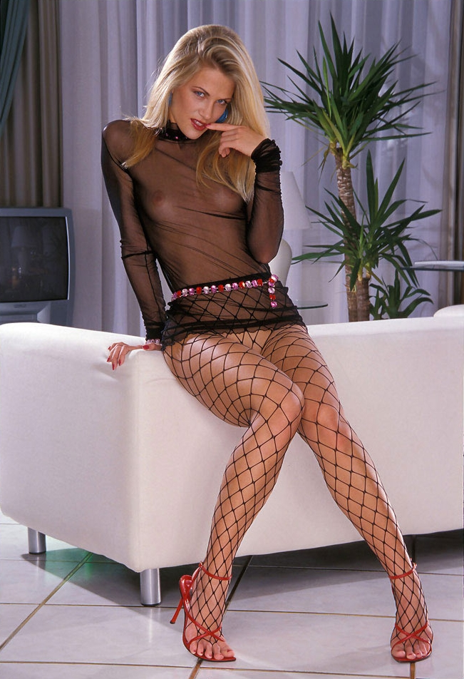 Consider, that Blonde black fishnet stockings commit
